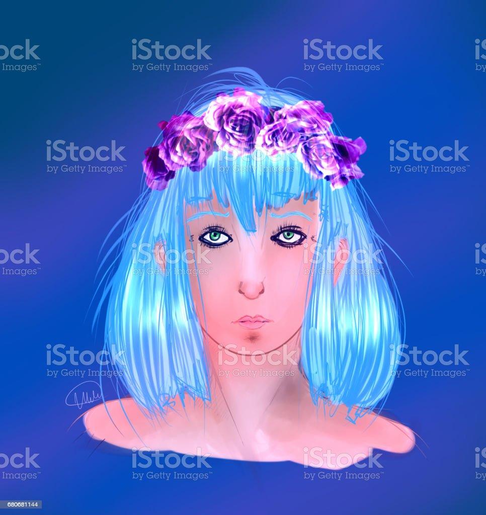 Girl with wreath vector art illustration