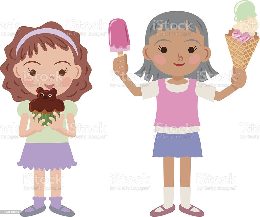 Girls and sweets vector art illustration