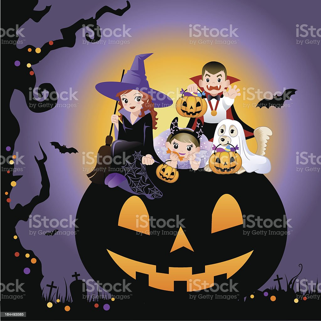 Girls, boy and dog wearing halloween costume vector art illustration