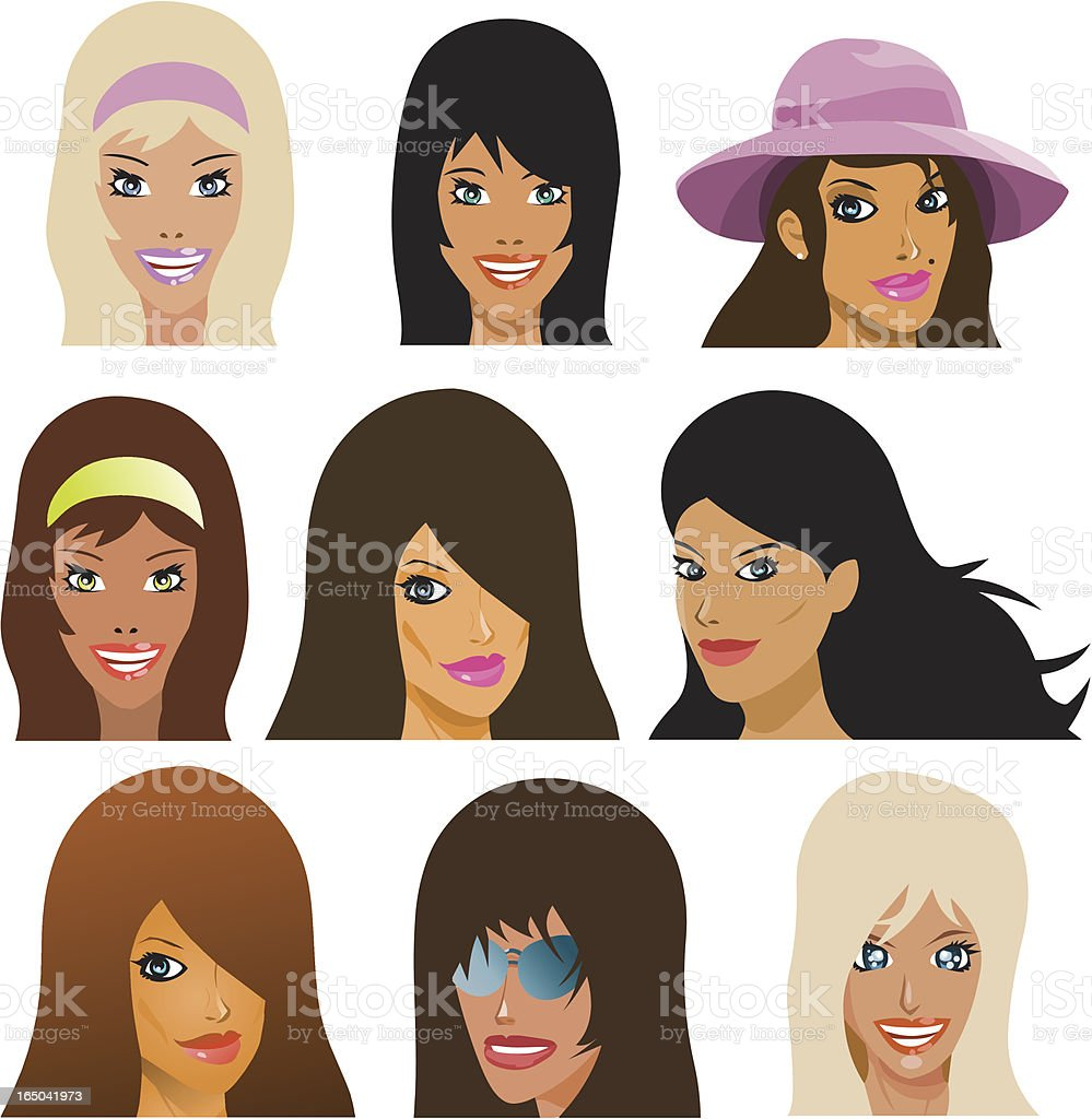 Girls Faces royalty-free stock vector art
