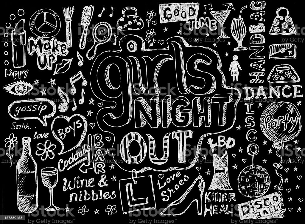 Girls night out doodles royalty-free stock vector art