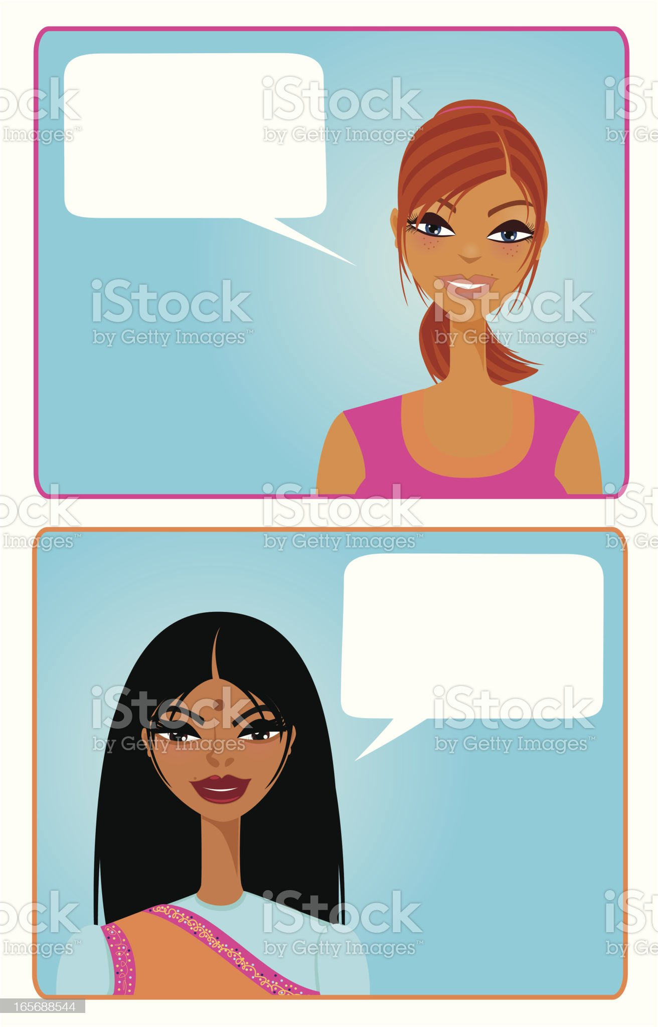Girls Talking royalty-free stock vector art