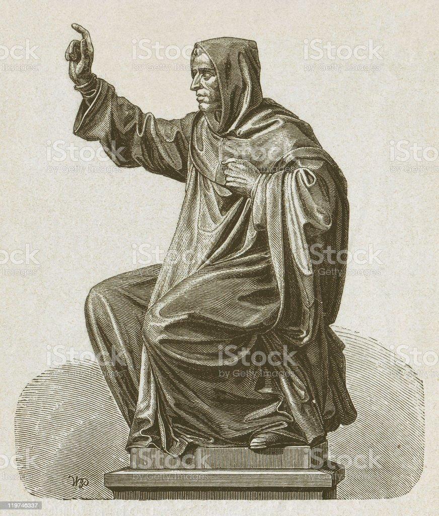 Girolamo Savonarola (1452-1498), Italian Dominican monk, wood engraving, published 1877 vector art illustration