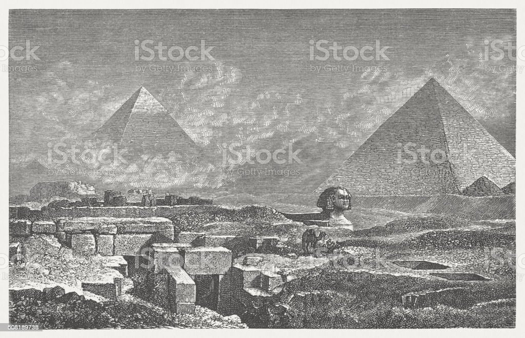 Giza, Pyramides and Sphinx, wood engraving, published in 1882 vector art illustration