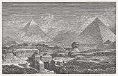 Giza, Pyramides and Sphinx, wood engraving, published in 1882