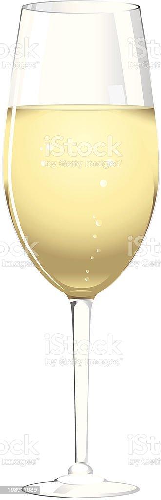 Glass of champagne vector art illustration