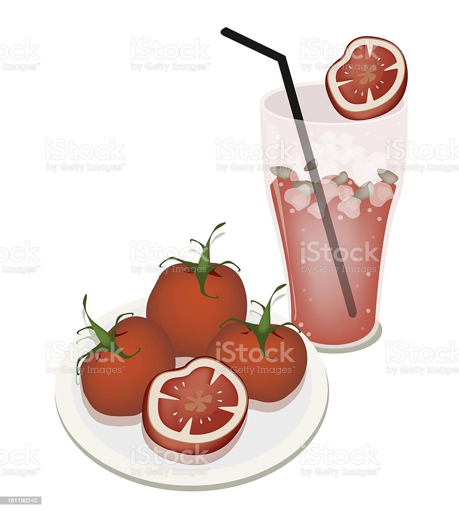 Glass of  Juice with Tomatoes royalty-free stock vector art
