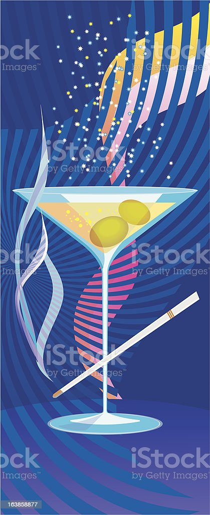 glass of martini with sparkles royalty-free stock vector art