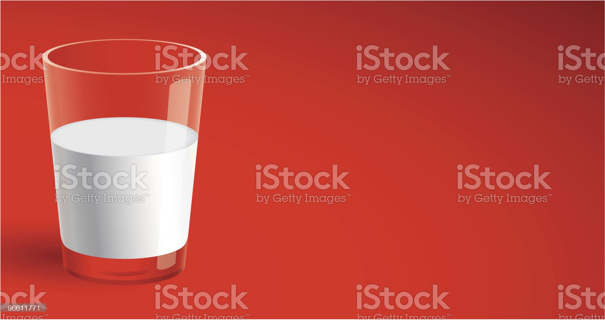 Glass of Milk on Red royalty-free stock vector art