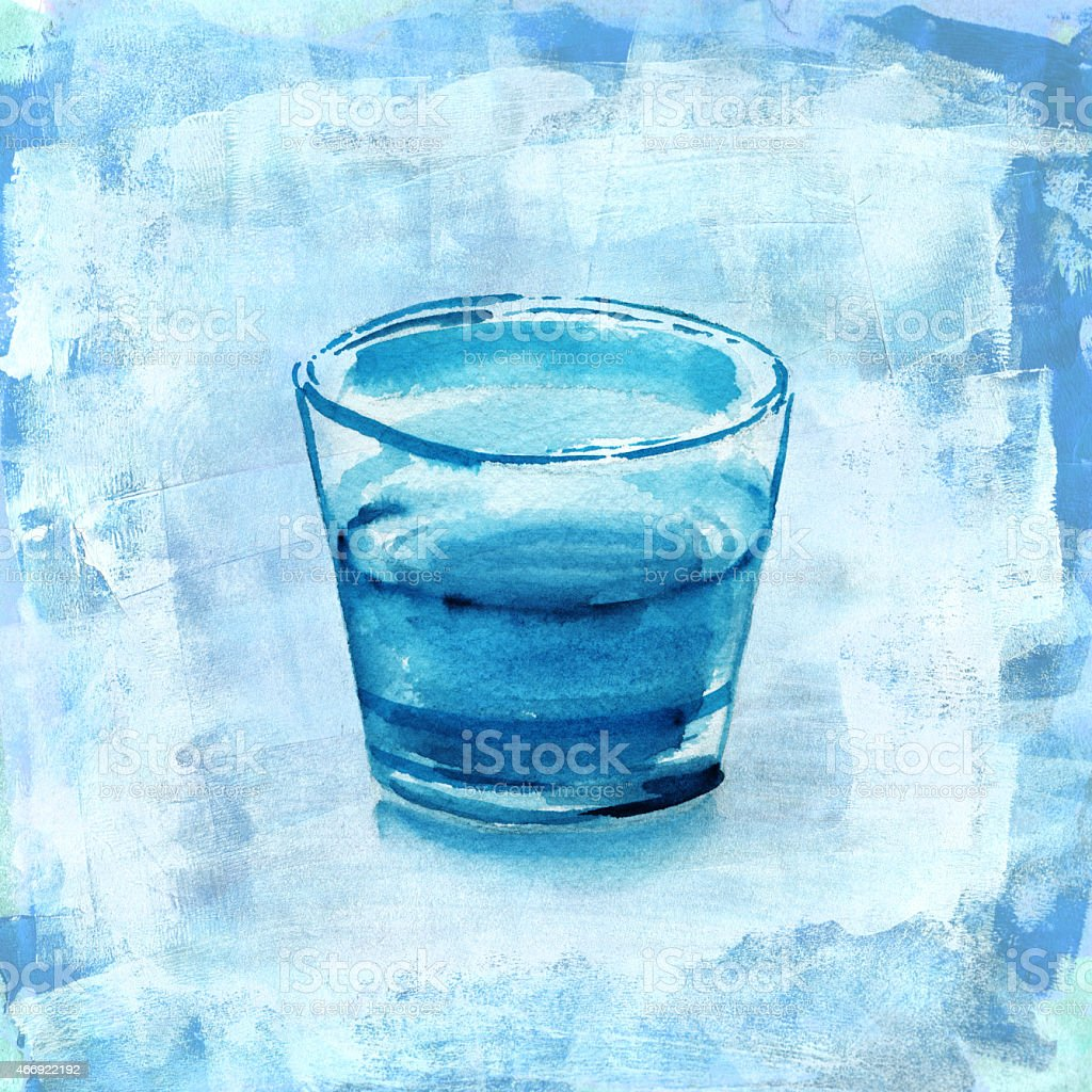 Glass of water on distressed blue acrylic background vector art illustration
