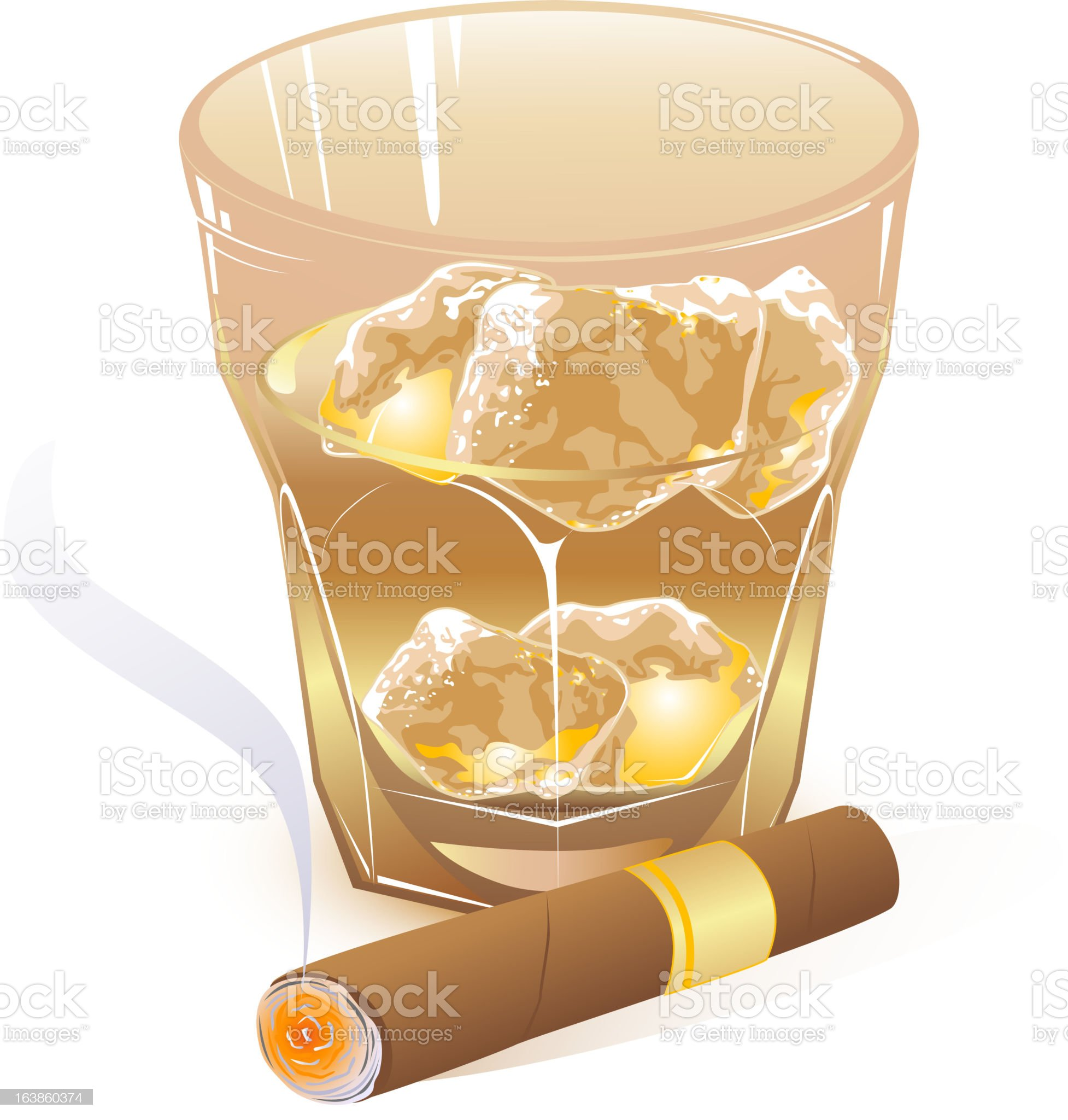 glass of whiskey and  cigar royalty-free stock vector art