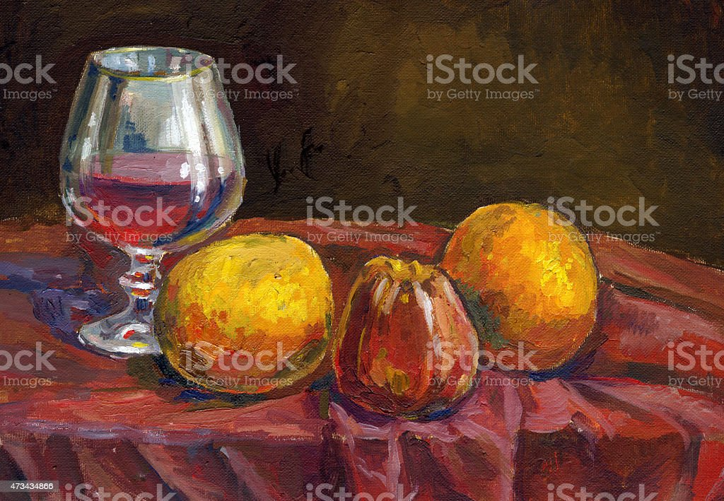 glass of wine and fruits painting vector art illustration