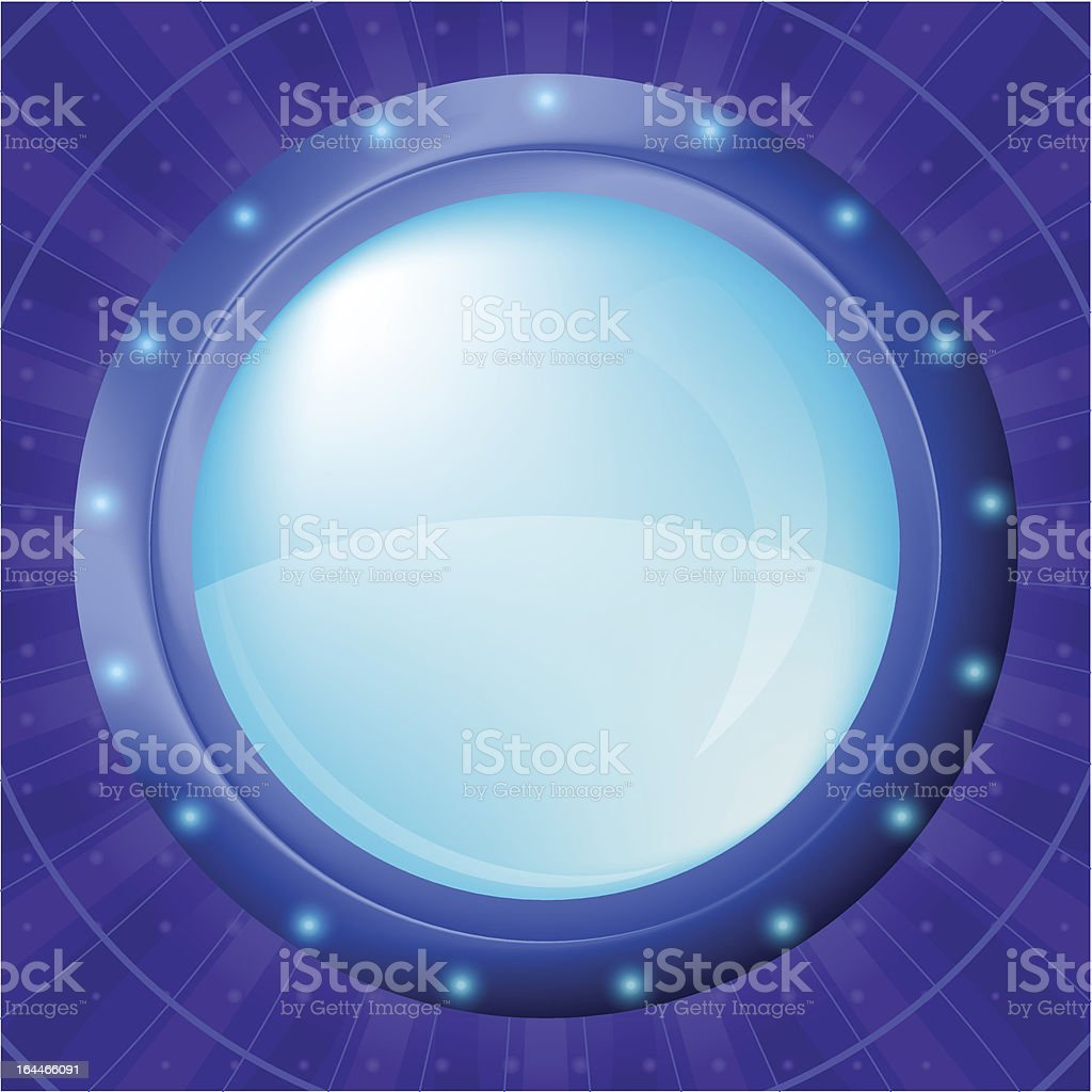 Glass porthole on blue background royalty-free stock vector art