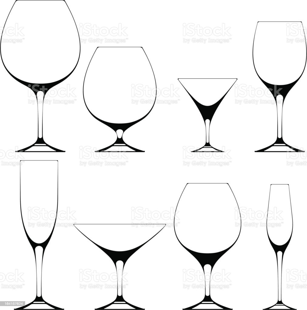 Glass silhouettes vector art illustration