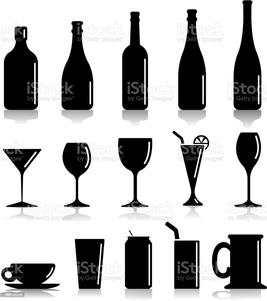 glass silhouettes vector art illustration