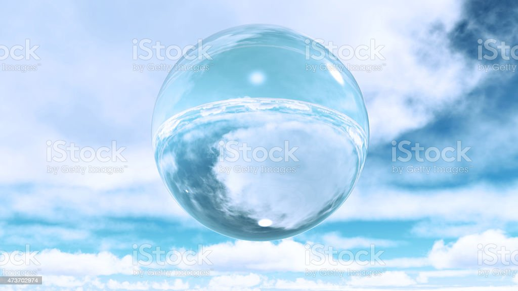 Glass sphere in clouds vector art illustration