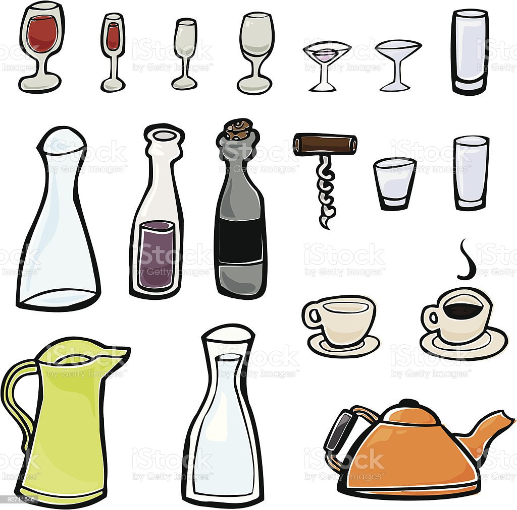 Glasses and Drinking Containers vector art illustration