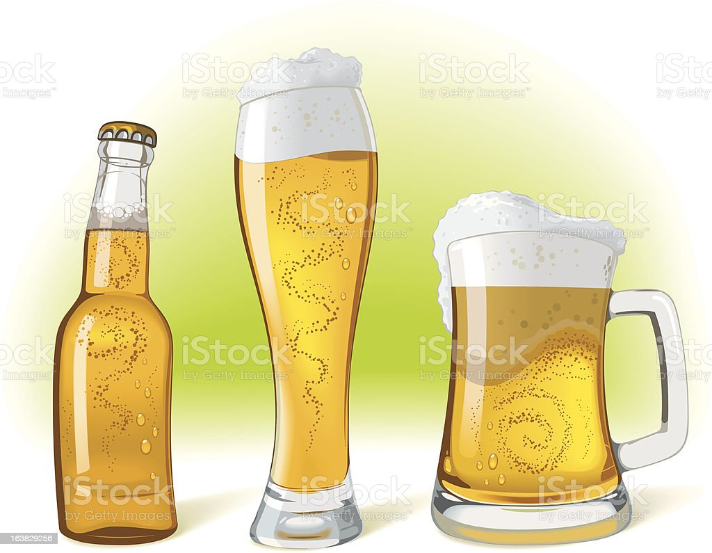 glasses of beer royalty-free stock vector art