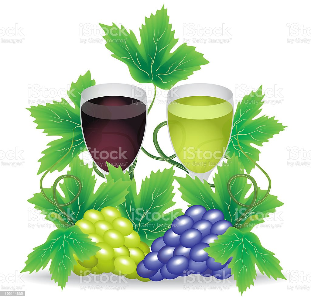 glasses of red and white wine grapes royalty-free stock vector art