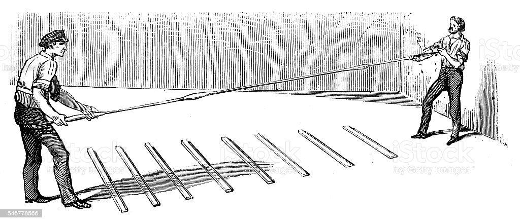 glassmiths stretching glass vector art illustration