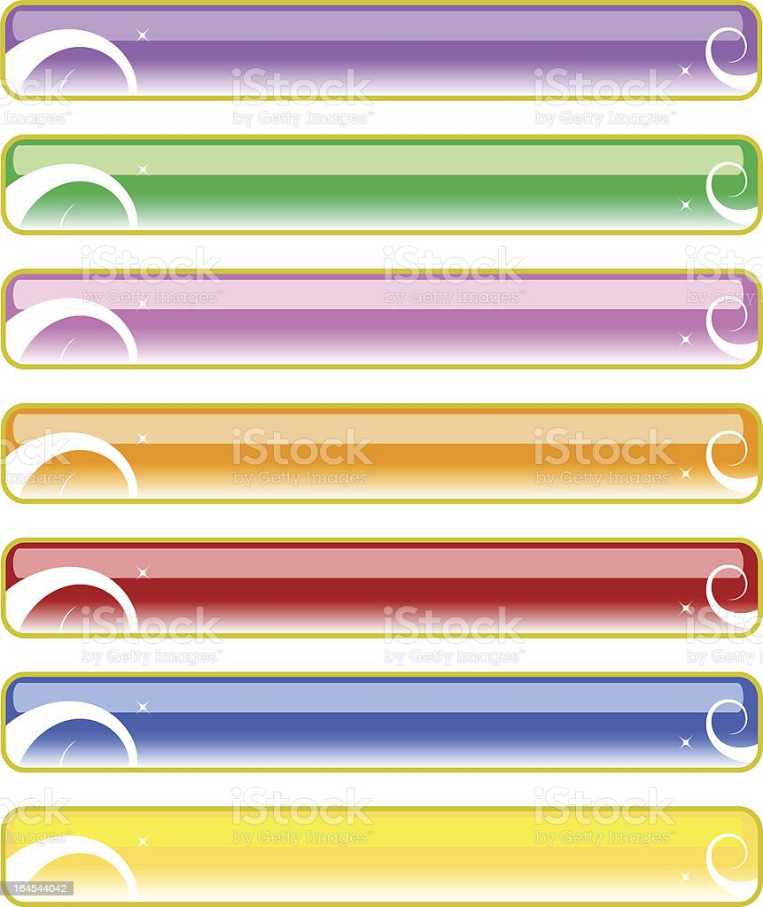 Glassy colored banners vector art illustration