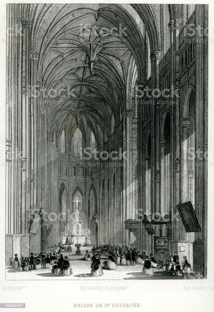 Église Saint-Eustache, Paris royalty-free stock vector art