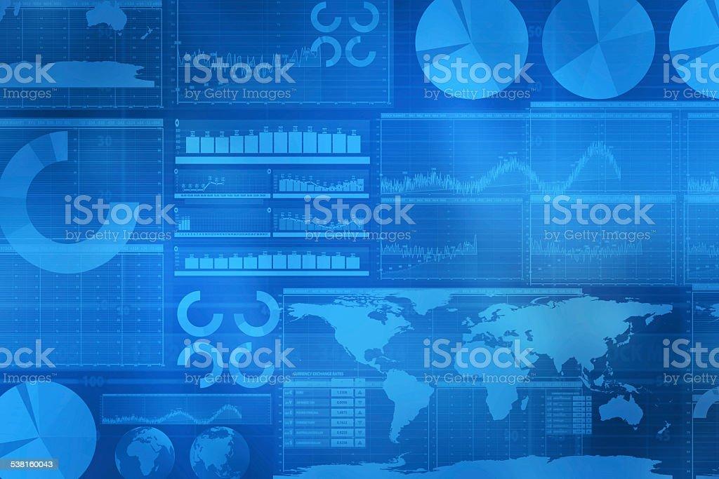 Global business blue background vector art illustration