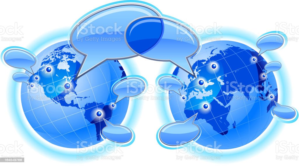 Global communications Dialogue west east royalty-free stock vector art