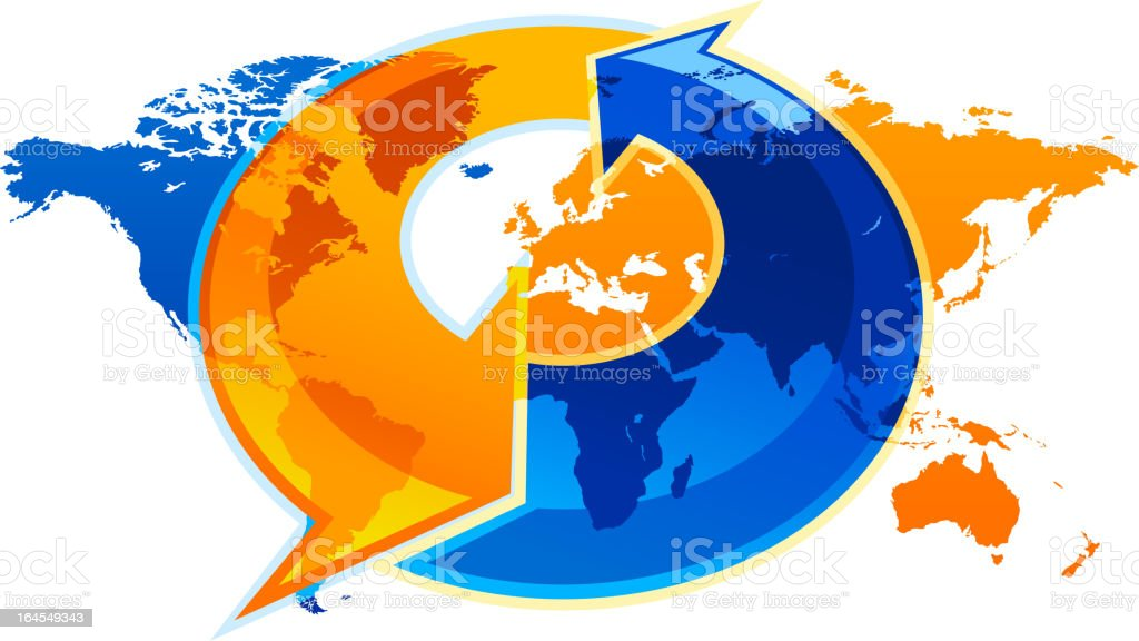 Global communications west east travel royalty-free stock vector art