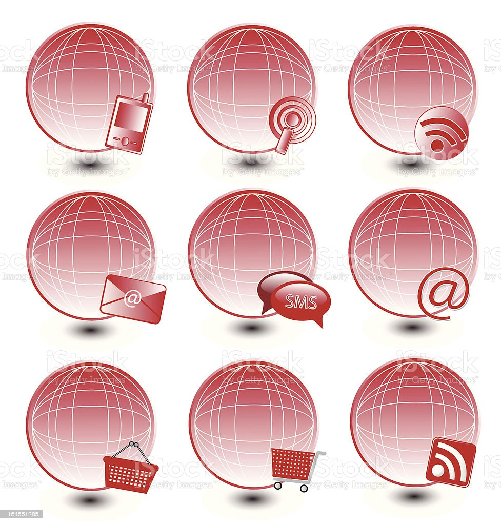Global Red Icon Set royalty-free stock vector art