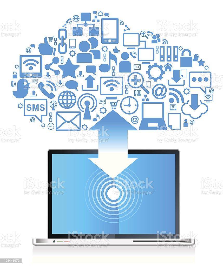 Global social network Laptop royalty-free stock vector art