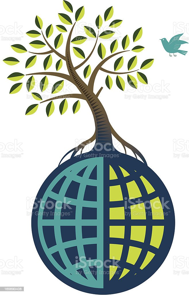 Global tree vector art illustration