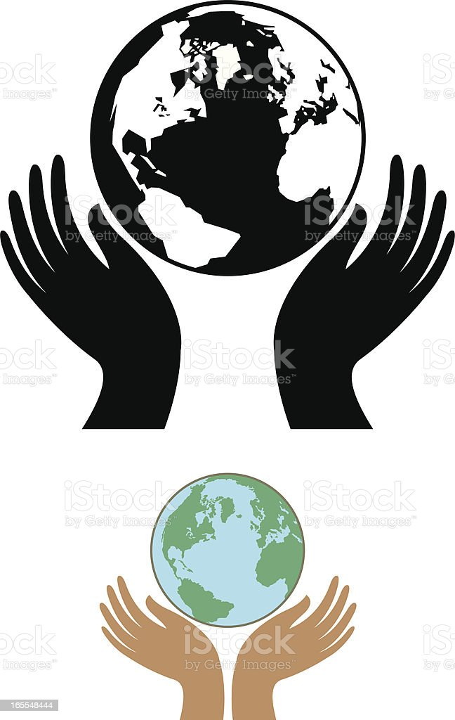 Globe and cupped hands vector art illustration