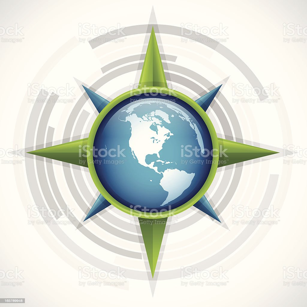 Globe Compass Rose royalty-free stock vector art