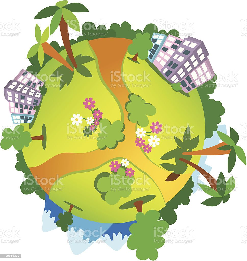 Globe covered with green trees royalty-free stock vector art
