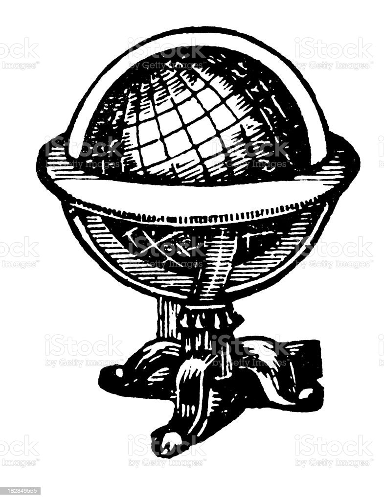 Globe | Early Woodblock Illustrations royalty-free stock vector art
