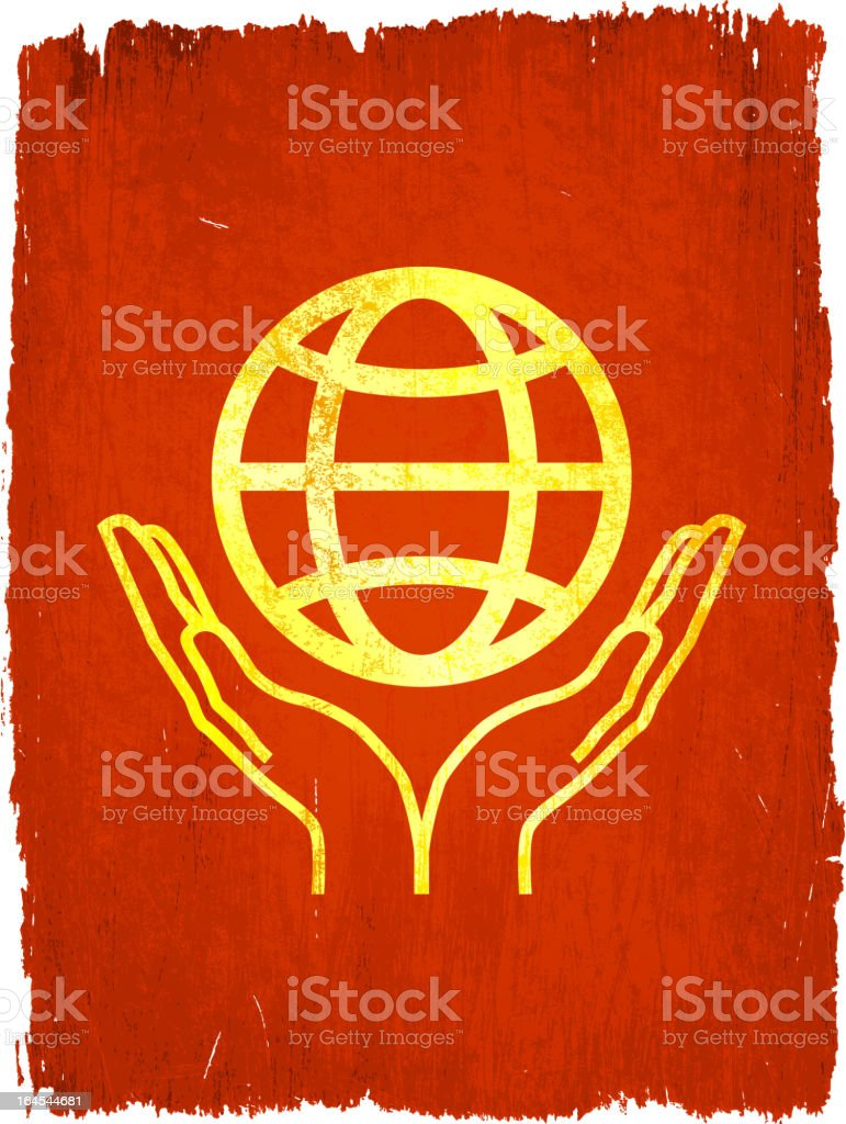globe in hands on royalty free vector Background royalty-free stock vector art