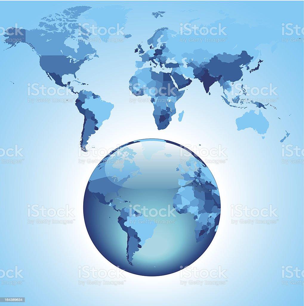Globe on blue World map royalty-free stock vector art