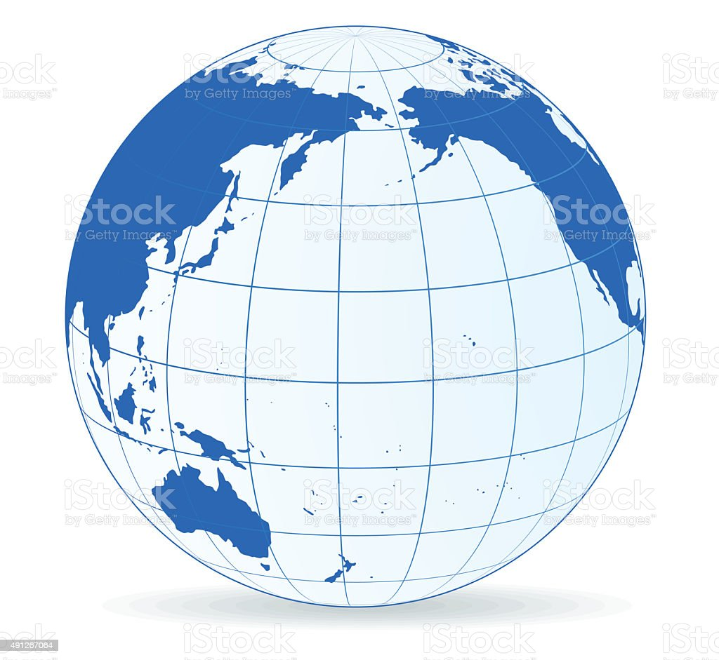 globe on oceania side vector art illustration