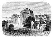 Globe Theatre - Antique Engraving
