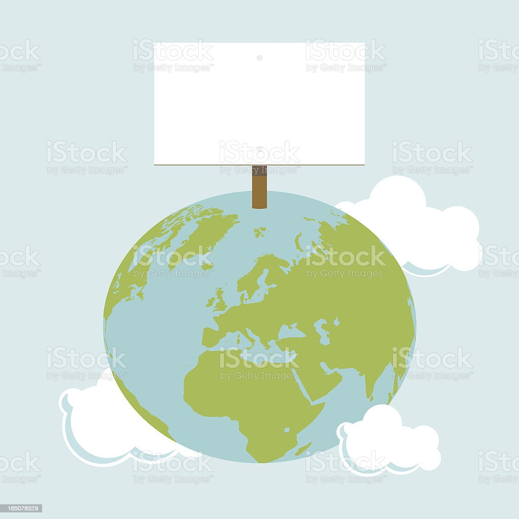 Globe with empty sign vector art illustration