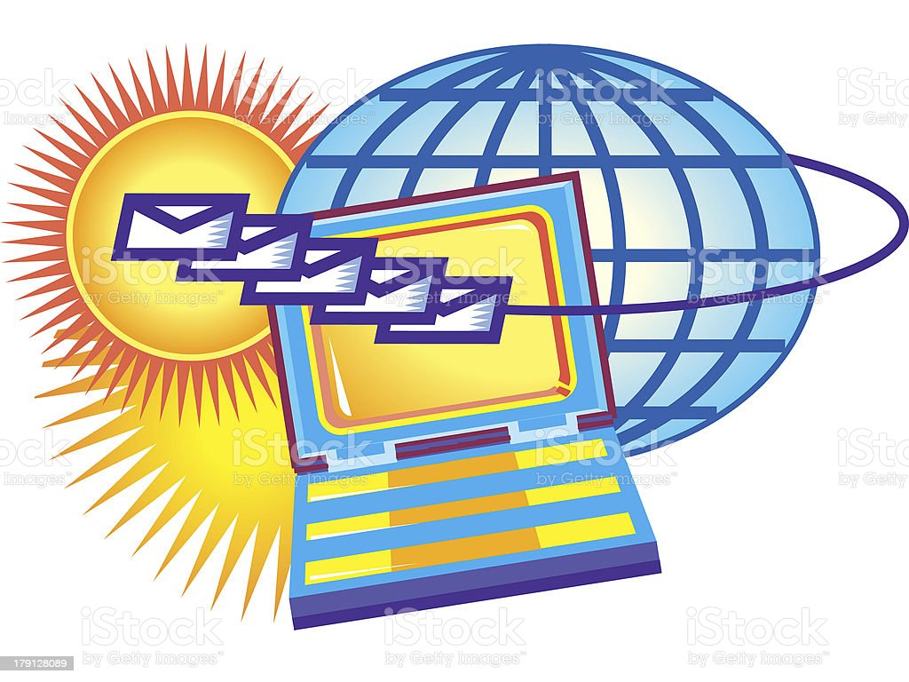 globe with mail going from a laptop computer royalty-free stock vector art