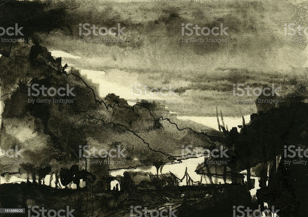 Gloomy landscape royalty-free stock vector art