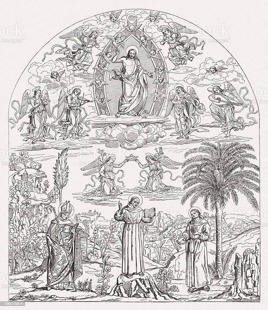 Glory of St. Bernardino in Bufalini Chapel, Rome, published 1878 vector art illustration