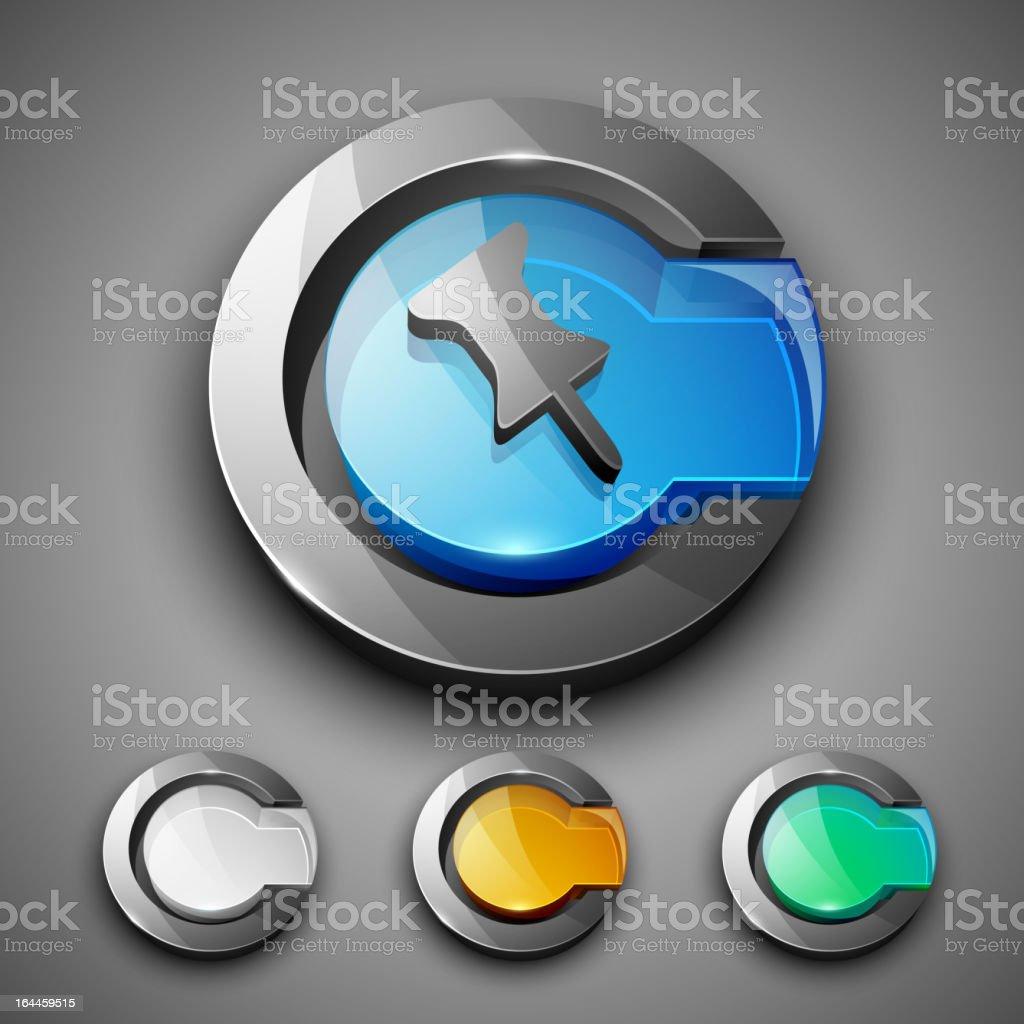 Glossy 3D web 2.0 thumbtack symbol icon set. royalty-free stock vector art