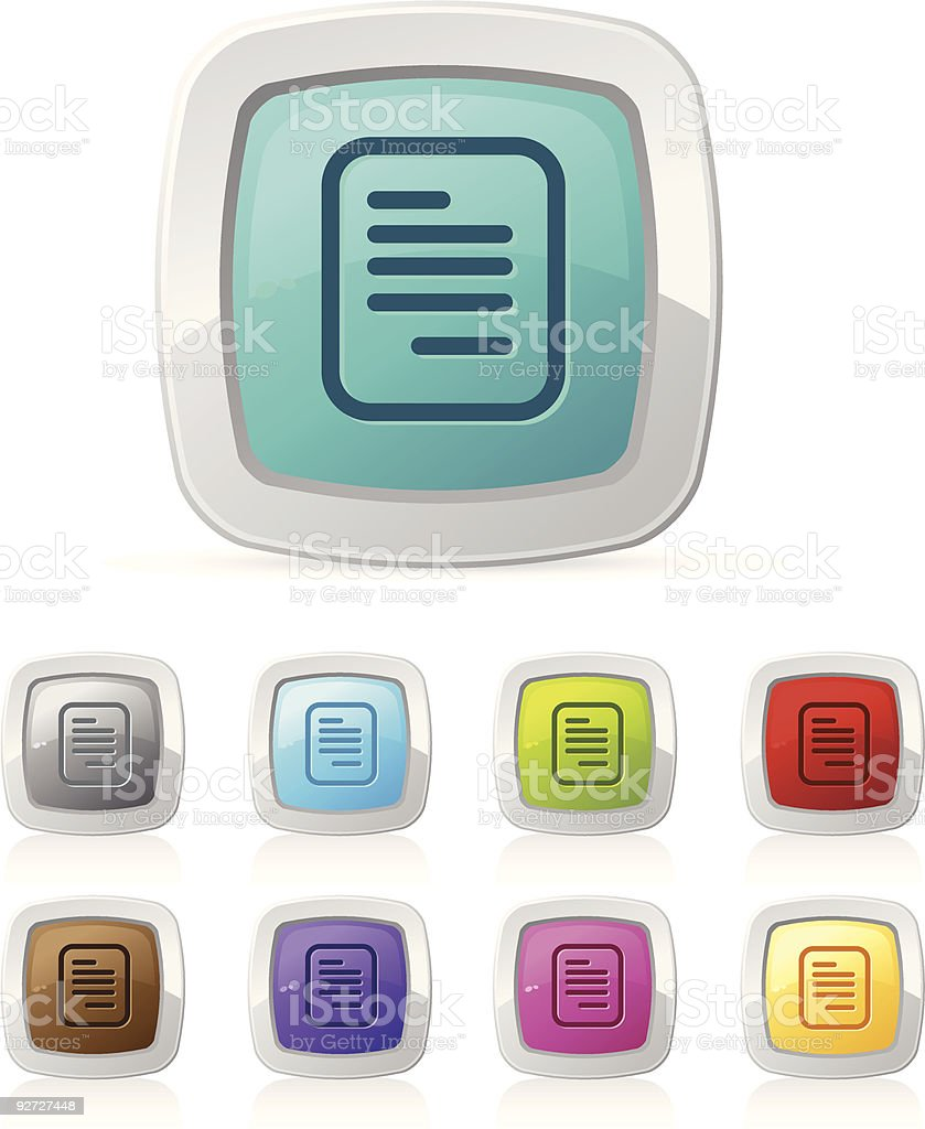 Glossy button - document royalty-free stock vector art