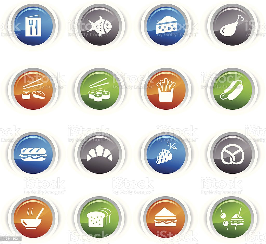 Glossy Buttons - Food Icons vector art illustration