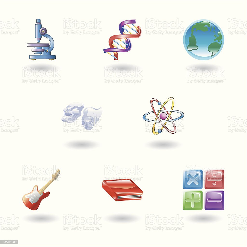 Category/education - Glossy Category Education Web Icons Royalty Free Stock Vector Art