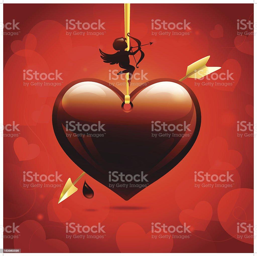 Glossy chocolate heart royalty-free stock vector art