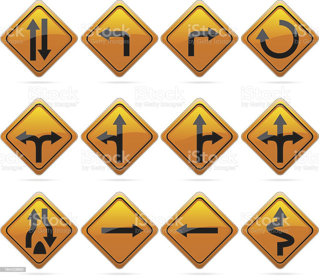 Glossy Diamond Road Arrow Signs vector art illustration